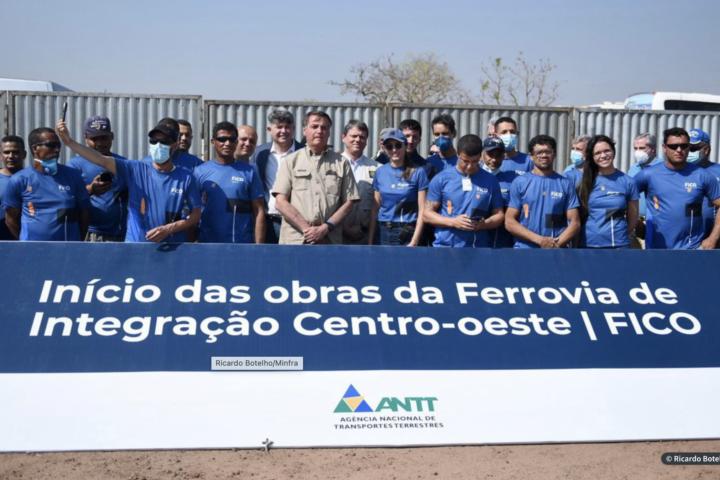 Presidente Jair Bolsonaro lança obra de construção da Ferrovia de Integração do Centro-Oeste (Fico)