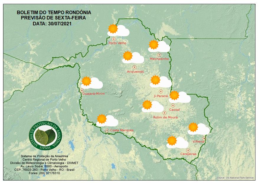 Confira a previsão do tempo para sexta-feira, 30 no Estado de Rondônia