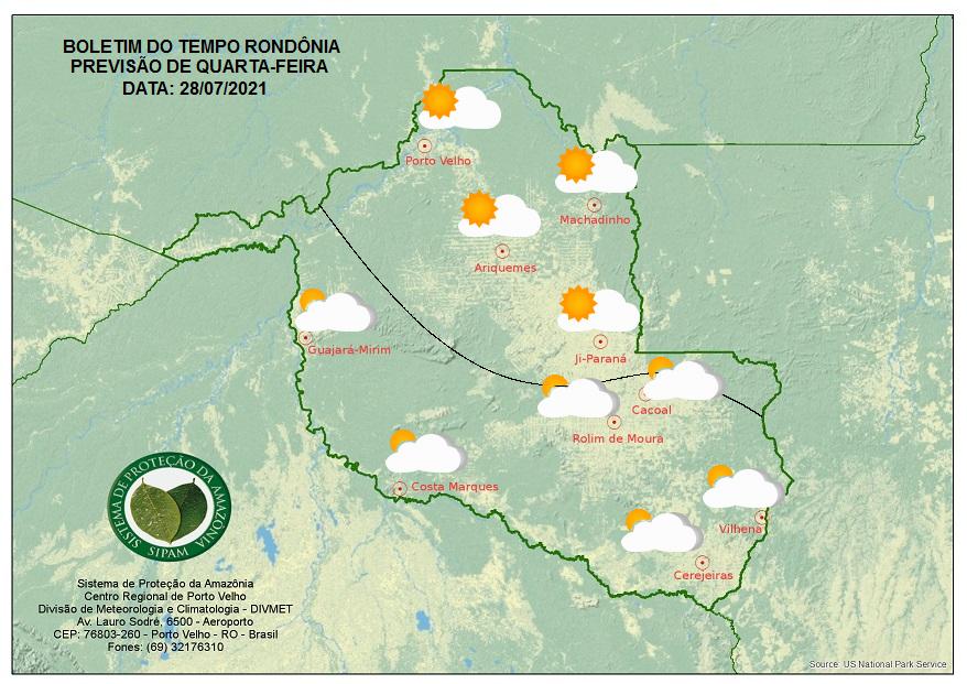 Confira a previsão do tempo de quarta-feira no Estado de Rondônia